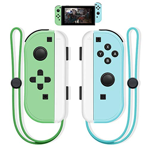 SINGLAND Joy Con Wireless Controller Replacement for Nintendo Switch, Remote Left&Right Controller with Wrist Strap,Support Wake-up Function (Blue and Green)