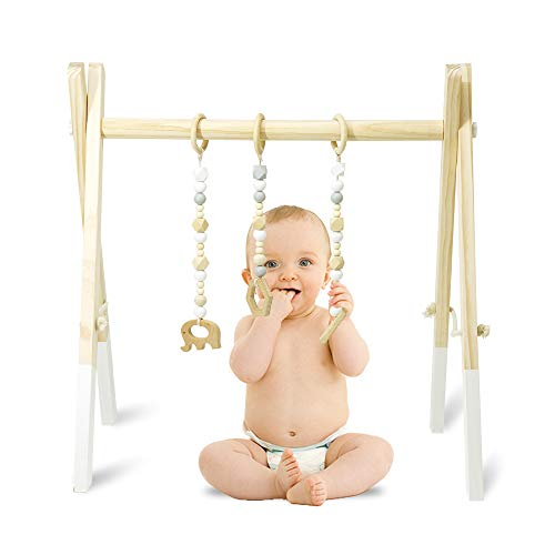 Homegician Wooden Baby Gym with 3 Wooden Baby Teething Toys Foldable Baby Wood Play Gym Frame Activity Gym Hanging Bar Newborn Gift Infant to Toddler Shower Gift Wooden Gym