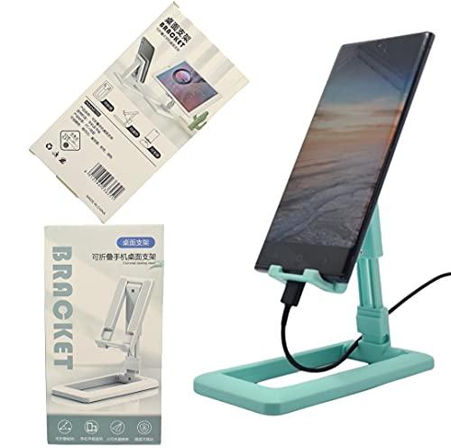 Soporte ajustable para teléfono móvil iPhone y Android, soporte plegable compatible con iPhone 12 Mini.12 Pro Max, 11 Pro, Xs, XR, 8, 7, 6S Plus, SE, Samsung S10, S9, S8, (turquesa)