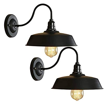 BRIGHTESS #8973 Retro Black Wall Sconce Gooseneck Barn Lanp Industrial Vintage Farmhouse Wall Lamp Include ON-Off Wall Lamp for Indoor Hardwired(2packs)