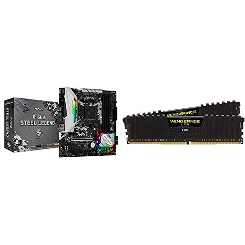 ASRock B450M Steel Legend Socket AM4/ AMD Promontory Motherboard & Corsair Vengeance LPX 16GB (2x8GB) DDR4 DRAM 3200MHz C16 Desktop Memory Kit - Black