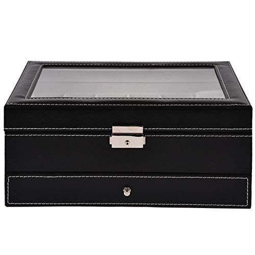 THj Uhren Box Uhren Box 2 Schichten 12 Slots Schmuck Uhren Display Abschließbare Glasdeckel Aufbewahrungsbox mit Schmuckschublade Schwarz Uhr Display Upscale/Schwarz / 30x20x12.8cm