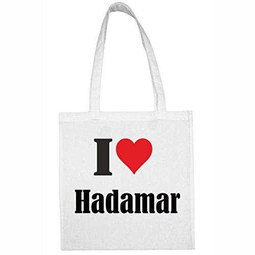 Tasche I Love Hadamar Größe 38x42 Farbe Weiss Druck Schwarz