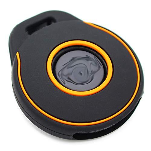 Coque de clé HAA pour clé de moto - En silicone - Noir et orange