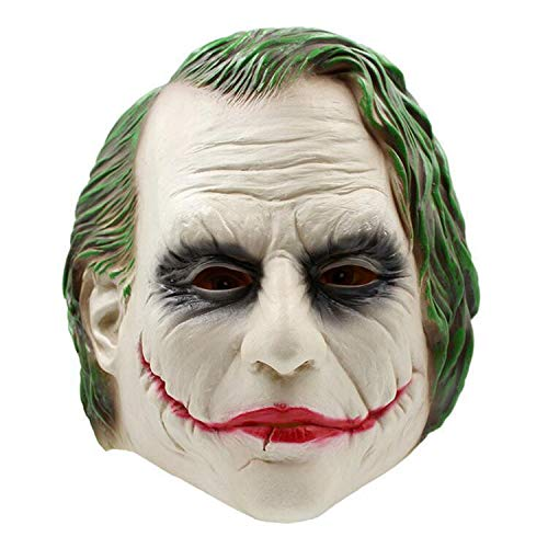 AUKBEC Scary Joker Clown Vollmaske Eco Latex Super Bösewicht Creepy Horror Halloween Cosplay Gesichtsmasken Crazy Party Erwachsene Kostüme Requisiten