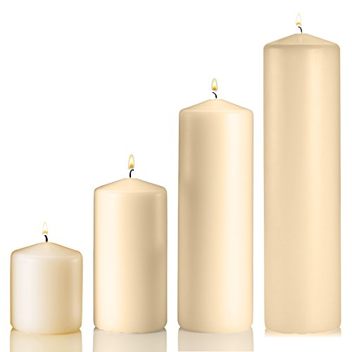 Set of 4 Unscented Pillar Candles