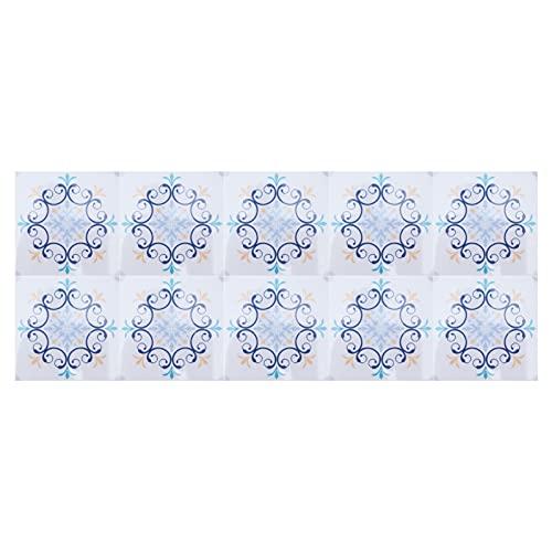 Gedourain Etiquetas engomadas del Piso, 10Pcs 10x10cm Etiqueta engomada del azulejo para la decoración del hogar para el baño de la Cocina(7)