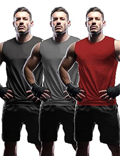 Tinkwell Camiseta sin mangas para hombre (3 unidades), cuello redondo, camiseta interior para gimnasio, correr, jogging negro/gris oscuro/rojo L