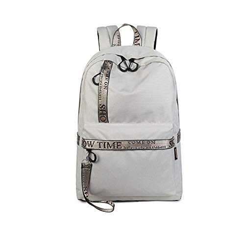 Mochila impermeable casual de viaje para mujer, impresión de letras, mochila para amantes de la escuela, mochila para computadora portátil, Gray (Gris) - SB-122