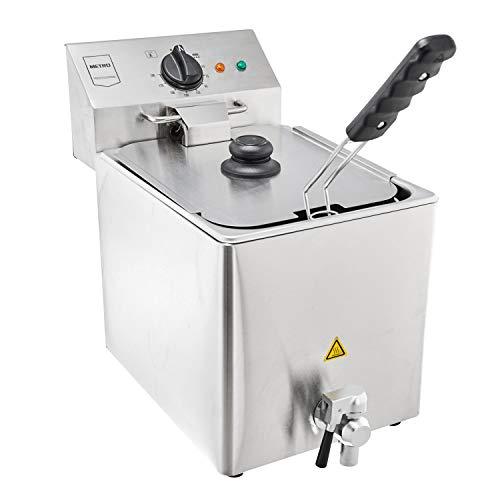 METRO Professional Elektrische Friteuse GDF3008 | Single | 8 Liter | 3250 W | Kaltzone | mit Deckel | Sicherheitsthermostat | Fritteuse | Edelstahl | Profi | auch für gewerblichen Einsatz geeignet