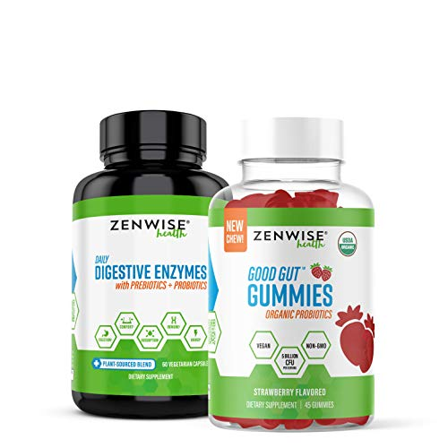 Zenwise Health Digestive Enzymes + Organic Probiotic Gummies Bundle – Gas, Bloating, Constipation & Diarrhea Relief – Probiotic Chewables with DE111 Probiotic for Clinically Studied Immune Support