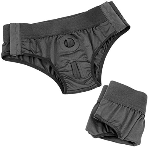 Strap Pants Artificial Soft Strapless Strapon Panties with Double Elastic Rings--FUPOIT (Black2)