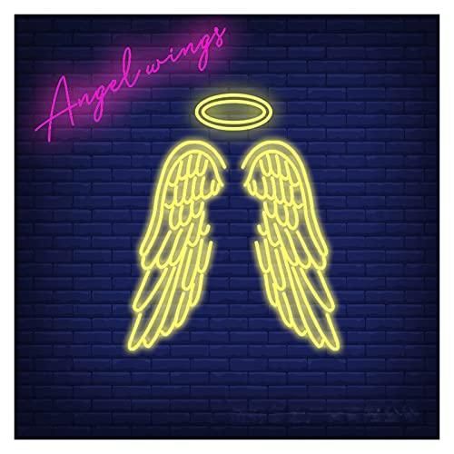 Letrero de neón de alas de ángel personalizado, luces de neón led acrílicas transparentes hechas a mano para habitación de niños, sala de estar, cocina o tienda, decoración de arte de pared