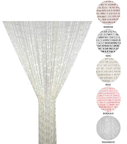 Tata Home Tenda Antimosche a Perline per Porta Finestra Moschiera a Pannello Misura 100 x 220 cm. Colore Trasparente