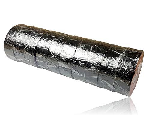 10 x Isolierband Set | 10m x 18mm | Isolierbänder schwarz | 10 Rollen Elektro Klebeband | Isoband Elektriker | Dicke 0,13mm | Dichtungsband mit hoher Flexibilität und Klebekraft | Reparaturklebeband
