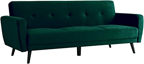 3 Seater Sofa Bed Upholstered Velvet Fabric Modular Lounge Chaise Couch Green - Dark Forest Green