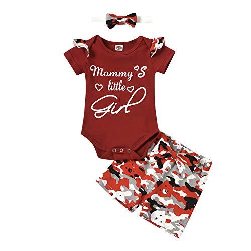 WAo Conjunto de ropa para recién nacidos, bebés, niños, niñas, tops, camiseta y pantalones. rojo 70 cm