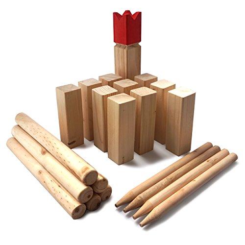 Ocean 5 Kubb - Original Wikinger Wurfspiel - Premium FSC® Holzspiel im Stoffbeutel mit massiven Figuren - Schwedenschach Holz Outdoor Spiel Wurf Schach Spiele