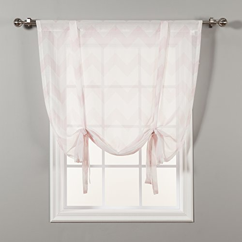 home fashion shades Best Home Fashion Chevron Sheer Curtain - Tie-up - Pink - 42