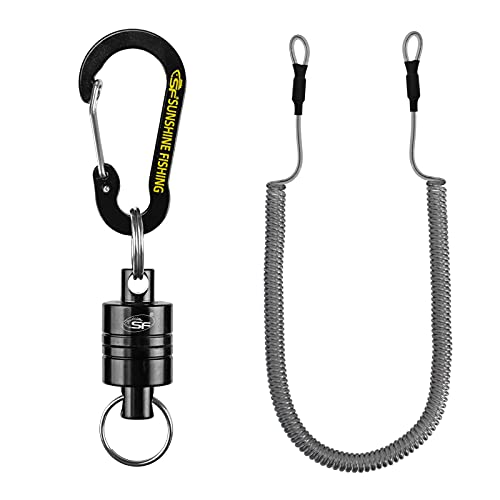 SF Strongest Magnetic Release Holder with Coiled Lanyard Carabiner - Black