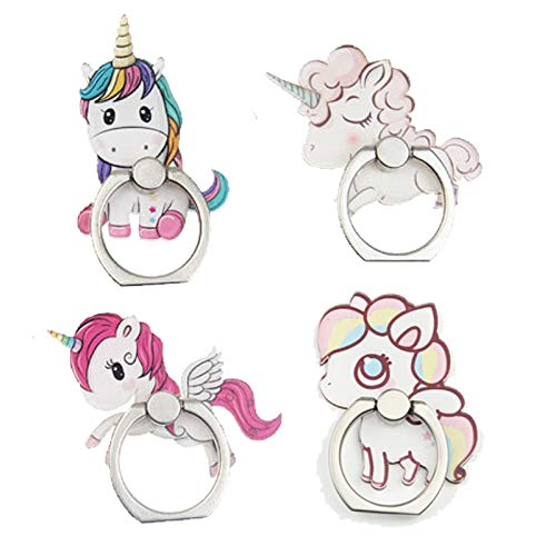 4-Pack Phone Ring Holder Stand, Cute Unicorn 360 Rotation Finger Grip Stand Mount for Cellphones and Tablets (Unicorn Ring)