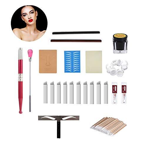 Kit de microblading para cejas, lápiz de tatuaje, cejas, labios, maquillaje, práctica de piel, agujas de pigmento, regla de cejas