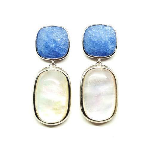Pendientes Aloha de plata de ley 0925 con cuarzo azul y madre perla blanco con fusión de cuarzo blanco