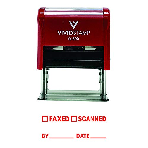 Faxed Scanned by Date Self Inking Rubber Stamp (Red Ink) - Large