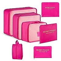 organizer valigie, newdora set da 7 organizzatori da viaggio, organizzatori valigie per abbigliamento, accessori viaggio, 3 cubi per bagagli + 3 sacchetti per indumenti +1 borsa di scarpe,rosa