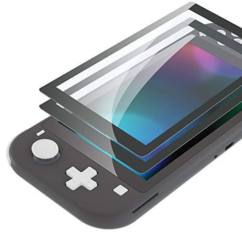 eXtremeRate Panzerglas für Nintendo Switch Lite,Schutzfolie Displayschutzfolie Panzerglas Folie Zubehör für Nintendo Switch Lite(2 Stück)[Kratzfest,Anti-Fingerabdruck,Bruchsicher,Blasenfrei]-Grau