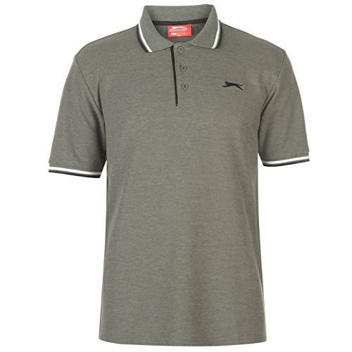 Slazenger Tipped Herren Polo Poloshirt T Shirt Kurzarm Classic Fit Tee Khaki Marl XXL
