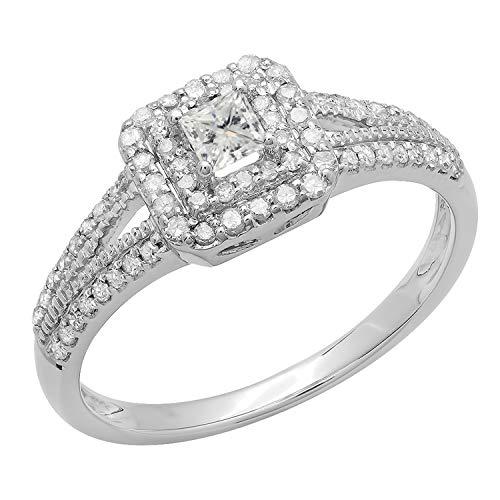 Anillo de novia o de compromiso de oro blanco de 14 K con diamantes redondos de 0,5 K de corte princesa