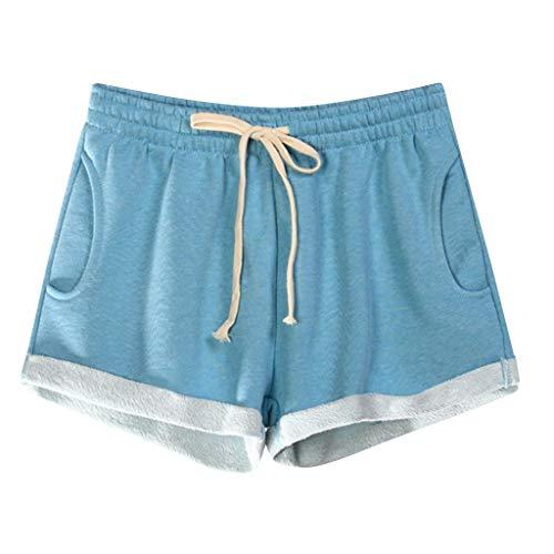 Zarupeng dames effen sweatshort met zakken, elastische taille, losse pyjamashort zacht ademend stoffen broek sport korte broek
