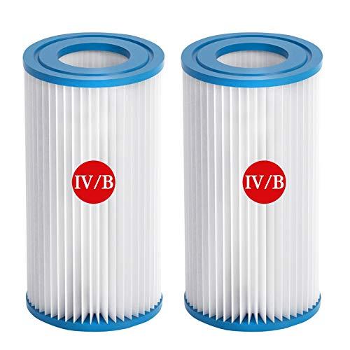 Cartucho de filtro tipo V tipo B para piscinas, filtro de repuesto para Bestway IV y Intex B, bomba, cartucho de filtro, filtro de piscina, apto para bombas de 2500 Gal/HR (2)
