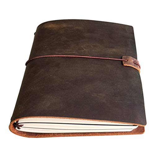 A5 Travelers Notebook - Refillable Leather Travel Journal for Men & Women, 3 Notebooks Inserted 5.5x8.25 inches, 120 Sheets, Brown