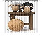 YEDL Nette 3D-Illustration Lustige Schaf-Brandungs-Duschvorhänge 02 Design Kreative Polyester-Stoffvorhänge für Wohnkultur 180 × 180 cm