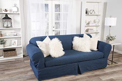 2 Piece Cotton Washed Heavy Denim Sofa Slipcover, Blue