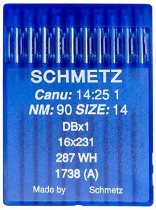 Schmetz Agujas industriales para máquina de coser: 16 x 231 – 90/14 (paquete de 10) + Enhebrador de agujas (3 paquetes por el precio de 2)