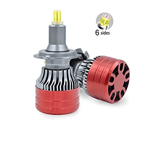 FANGFANGWAN H1 LED H7 H4 30000LM H8 HB3 9005 HB4 H11 Bombillas de Faros LED 9012 Hir2 4 Lados 10 0w 3D Lámpara automática de 360 Grados CANBUS de Alta Potencia (Socket Type : H7)