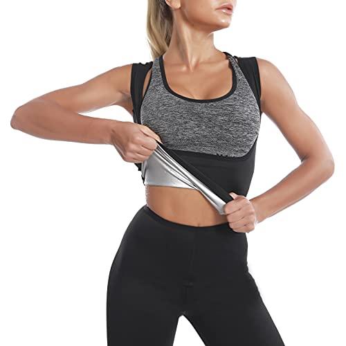 Faja Reductora Adelgazante Mujer Sauna Chaleco Deportivo de Yoga Camiseta Sudoración Compresión...