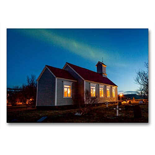 Premium Textil-Leinwand 90 x 60 cm Quer-Format Reykholtskirkja unter Polarlichtern | Wandbild, HD-Bild auf Keilrahmen, Fertigbild auf hochwertigem Vlies, Leinwanddruck von Norman Preißler