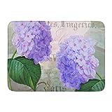 YnimioHOB Alfombra de baño Hortensia Redoute Hydrangea púrpura Flor Lumbar Decoración de baño Alfombra