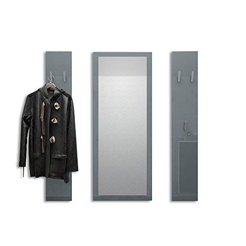 Vladon Garderobenset Garderobe Spot in Grau Hochglanz