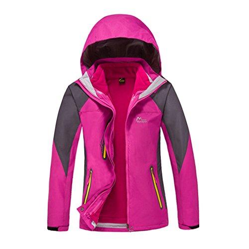 CIKRILAN Femme 3 en 1 Imperméable Respirante Outdoor Sport Veste de Randonnée Camping Coupe-Vent Capuche Manteau (Small, Rose)