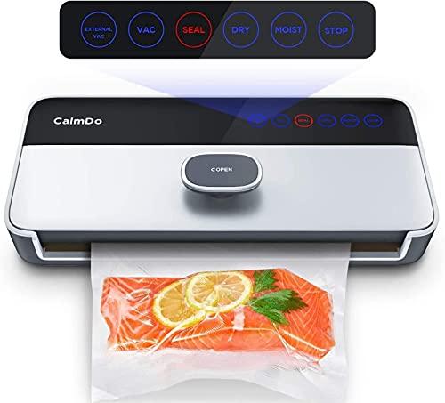 CalmDo CD-V001 Macchina Sottovuoto per Alimenti Automatica, 6 in 1 Sigillatrice Sottovuoto da 120W Secchi e Umidi Professionale Vacuum Sealer con un Rotolo e Tubo per l'Uso Domestico e di Casa