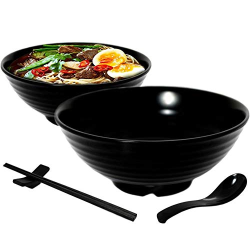 Vallenwood 2 Noodle Bowl Sets (8 piece) Melamine Large Ramen Bowls Set. Asian Chinese Japanese or Pho Soup 32oz. With Spoons, Chopsticks and Stands Complete Dinnerware. Thai Miso Udon wonton soup.