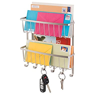 Inter Design Mail, Letter Holder, Key Rack Organizer for Entryway, Kitchen - 2 Tier, Wall Mount, Satin