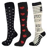 Sabarry Lot de 3 paires de chaussettes de compression pour femme et homme S/M Rouge/noir/blanc