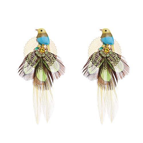 Pendientes De Pluma Tricolor Lindos Tachuelas De Oro Pájaro Hechos A Mano Hermosas Joyas Frescas Verde ejército