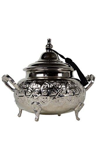 Orientalische Zuckerdosen Dosen aus Messing in Silber Bensu 12cm | Marokkanische Minzdose Tee Kaffee Dose klein | indische Vintage Vorratsdose Gewürzdose rund | Orientalische Dekoration auf dem Tisch
